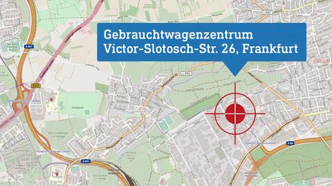 """Karte, die den Drehort """"Gebrauchtwagenzentrum"""" lokalisiert: Victor-Slotosch-Str.26 in Frankfurt a.M.."""