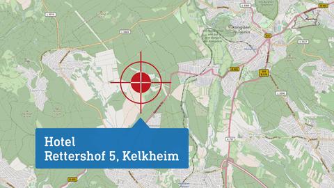 """Karte, die den Drehort """"Hotel"""" lokalisiert: Rettershof 5 in Kelkeim."""