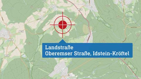 """Karte, die den Drehort """"Landstraße"""" lokalisiert: Oberemser Straße in Idstein-Kröftel."""