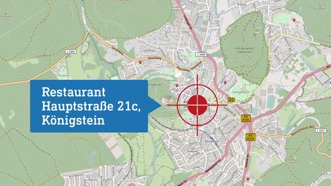 """Karte, die den Drehort """"Restaurant"""" lokalisiert: Hauptstraße 21c in Königstein."""