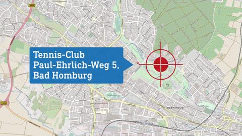 """Karte, die den Drehort """"Tennis-Club"""" lokalisiert: Paul-Ehrlich-Weg 5 in Bad Homburg."""