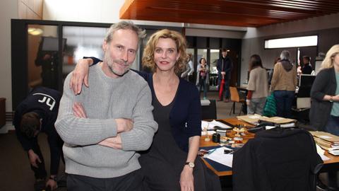 Tatort Kommissare Wolfram Koch und Margarita Broich am Set