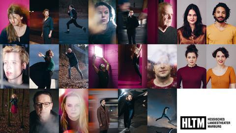 eine Bildmontage mit Porträts der Enesemblemitglieder des Theaters