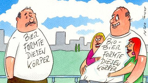 """Cartoon von Peter Thulke """"Bier formte diesen Körper"""""""
