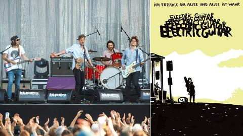 """Eine Bildkombination aus einem Foto der Band """"Tocotronic"""" während eines Konzertes und einem Bild aus dem Comic."""