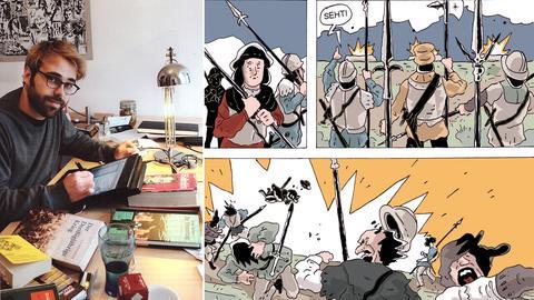 "Comic-Zeichner Kummer / Szenen aus ""Gotteskrieger"""