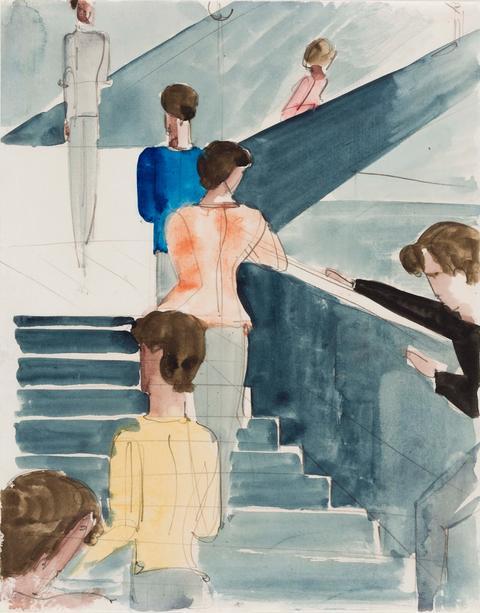 Das Bild zeigt eine Aquarell- und Bleistiftzeichnung. Insgesamt sind sieben Menschen von hinten zu sehen, wie sie eine Treppe hochgehen.