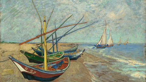 Vincent van Gogh, Segelboote am Strand von Les Saintes-Maries-de-la-Mer, 1888