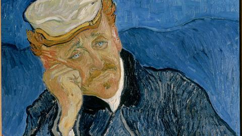 """Das Gemälde """"Portrait du Docteur Paul Gachet"""" von Vincent van Gogh, Ausschnitt"""