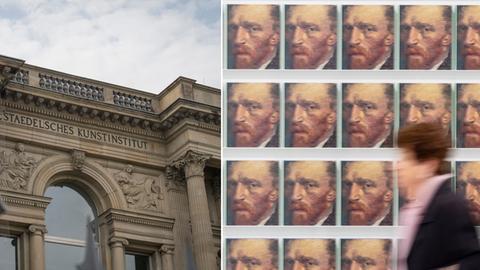 Städel von außen/ Wand mit Katalogen mit van Gogh Konterfei