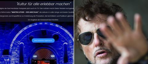 Bildkombo bad Hersfeld bei waipu.tv und Festspiel-Intendant Dieter Wedel