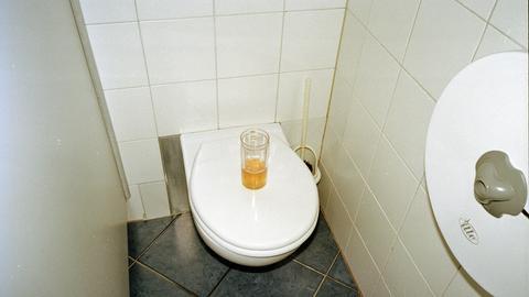 Auf einem Klodeckel steht ein Glas Bier