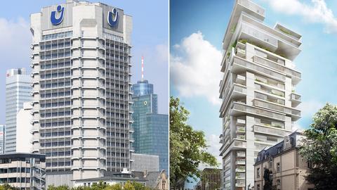 Entwurf von Ole Scheeren für neuen Wohnturm in Frankfurt, zu dem das alte Union-Investment-Hochhaus umgebaut werden soll