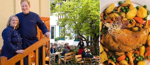 Kombonation aus drei BilderN: links junge Wirtsleute in ihrer Arbeitskluft; der Außenbereich eines Landgasthofes mit Tischen und Gästen; ein Gericht, wie es im Restaurant serviert wird.