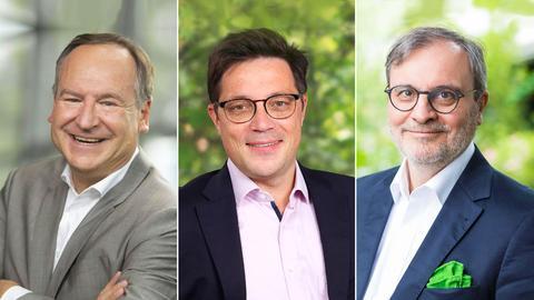 Stellen sich zur Landratswahl: Amtsinhaber Oliver Quilling (CDU, links), Carsten Müller (SPD, Mitte) und Robert Müller (Grüne).