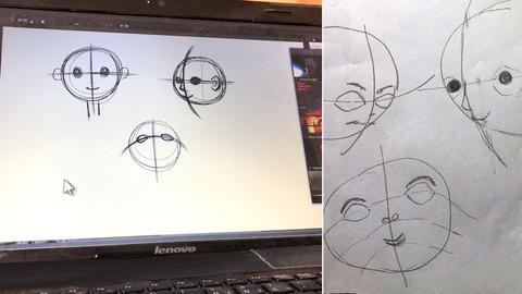 Computer mit Manga_Illustrationen plus eigene Zeichnungen