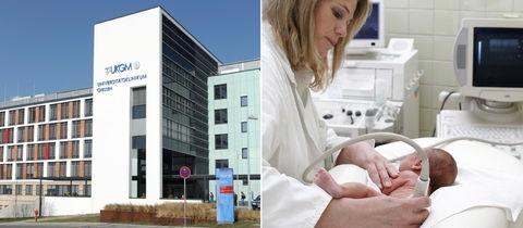 Die Bildkombination zeigt eine Außenansicht des Klinikums in Gießen und ein Foto einer Ärztin, wie sie einen Säugling untersucht.