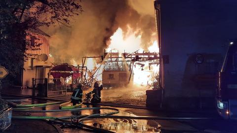 Scheunenbrand Feuerwehr Grävenwiesbach