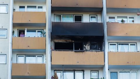 Ausgebrannte Wohnung in Hanau