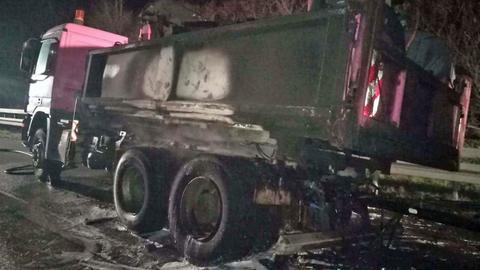Ausgebrannter Lkw an der A5