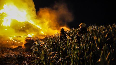 Flammen Heuballen