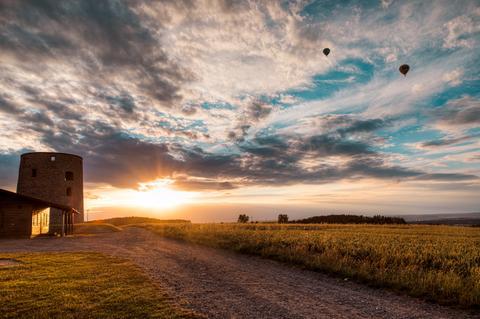 Sonnenuntergang an der Grüninger Warte in Pohlheim