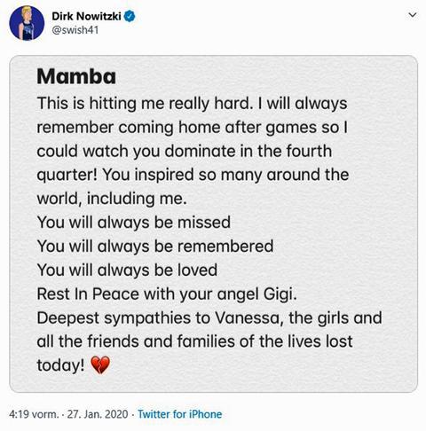 Tweet von Dirk Nowitzki