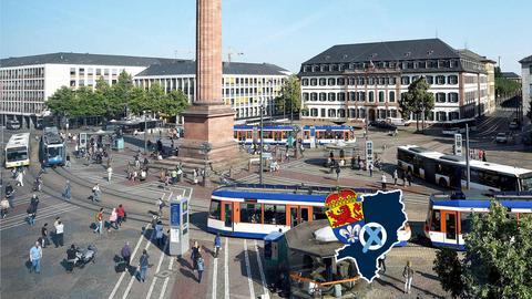 Straßenbahn Tram Darmstadt Luisenplatz