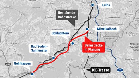 Die Karte zeigt die geplante Trassenführung zwischen Mittelkalbach und Gelnhausen.