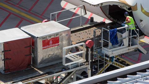 Ein Mann lädt Frachtcontainer aus einem Flugzeug aus.