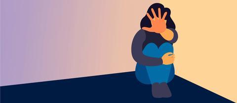 Grafische Darstellung einer in der Ecke auf dem Boden sitzende Frau, die sich zum Schutz ihre Hand vor das Gesicht hält.