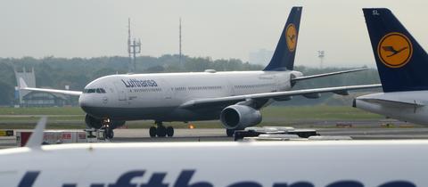 Ein A330-300 der Lufthansa auf dem Flughafen Frankfurt.