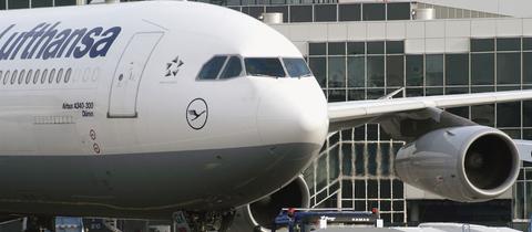 Ein A340 der Lufthansa am Boden
