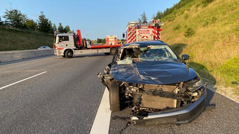 Unfallstelle auf A4 bei Friedewald (Hersfeld-Rotenburg)