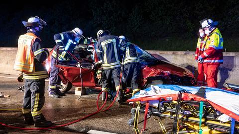 Unfallstelle auf A5 bei Friedrichsdorf