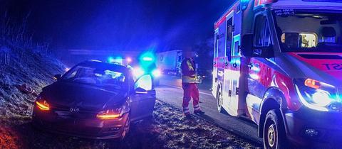 Unfallstelle auf der A66 bei Fulda