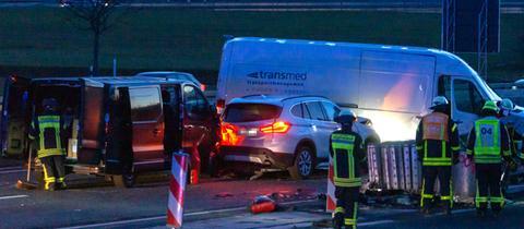 Unfallstelle auf der A66 bei Hofheim am Taunus