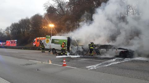 Ausgebrannte Autos auf A661