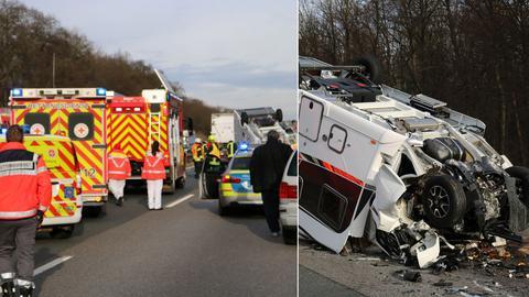 Unfallstelle auf der A67 mit dem zerstörten Wohnmobil