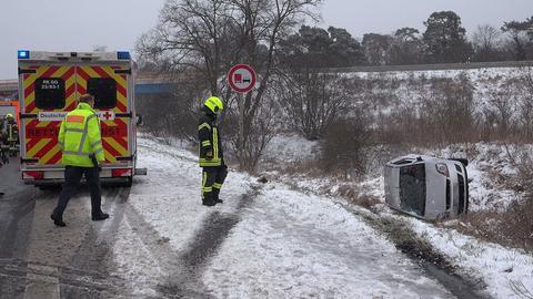 Unfallstelle auf der A67 bei Pfungstadt