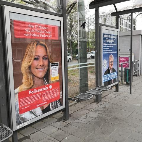 Adbusting Bushaltestelle Ostendstraße Frankfurt