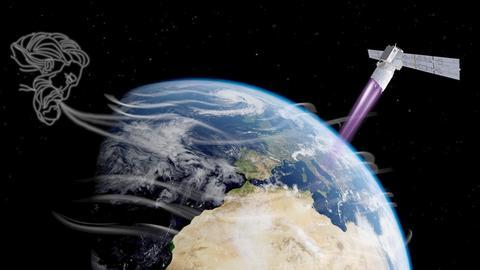 ESA-Grafik: Windgott und Satellit Aeolus im All