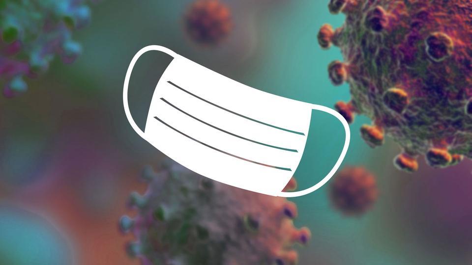 Corona und Alltag - eine Grafik mit symbolischem Mund-Nasen-Schutz