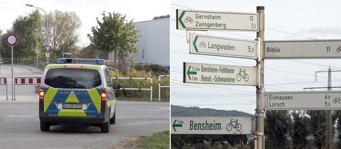 Fotokombination aus einem Polizeiauto und einer Stange mit vielen Fahrradweg-Wegweisern im Bereich um den Tatort.