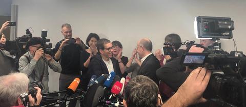Ankunft des verurteilten Doppelmörders Jens Söring am Frankfurter Flughafen