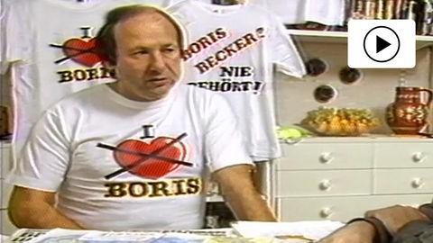 """Fundstück aus dem hr-Archiv: Jürgen Pfaffe (li.) gründete in den Achtzigern einen """"Anti-Boris-Becker-Club""""."""