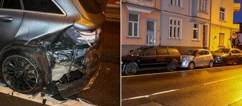 Schaden an Pkw, Autos aufeinandergeschoben