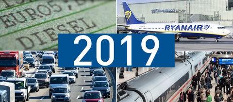 Die Bildcollage zeigt Bilder zum Them Diesel, Stau, Bahnverkehr und Flughafen