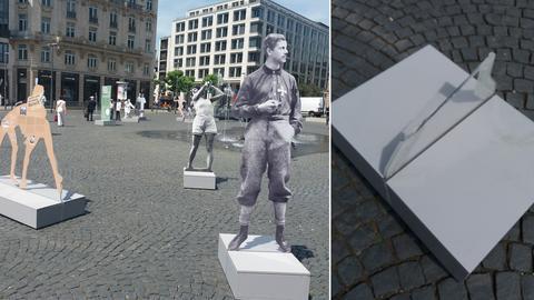 Bildcombi: Ausstellung auf dem Rathenauplatz - zerstörte Porträt-Plastik