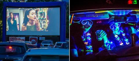 Collage: links Autos vor einer Leinwand, auf der ein Film läuft; rechts zwei Menschen feiern im Auto